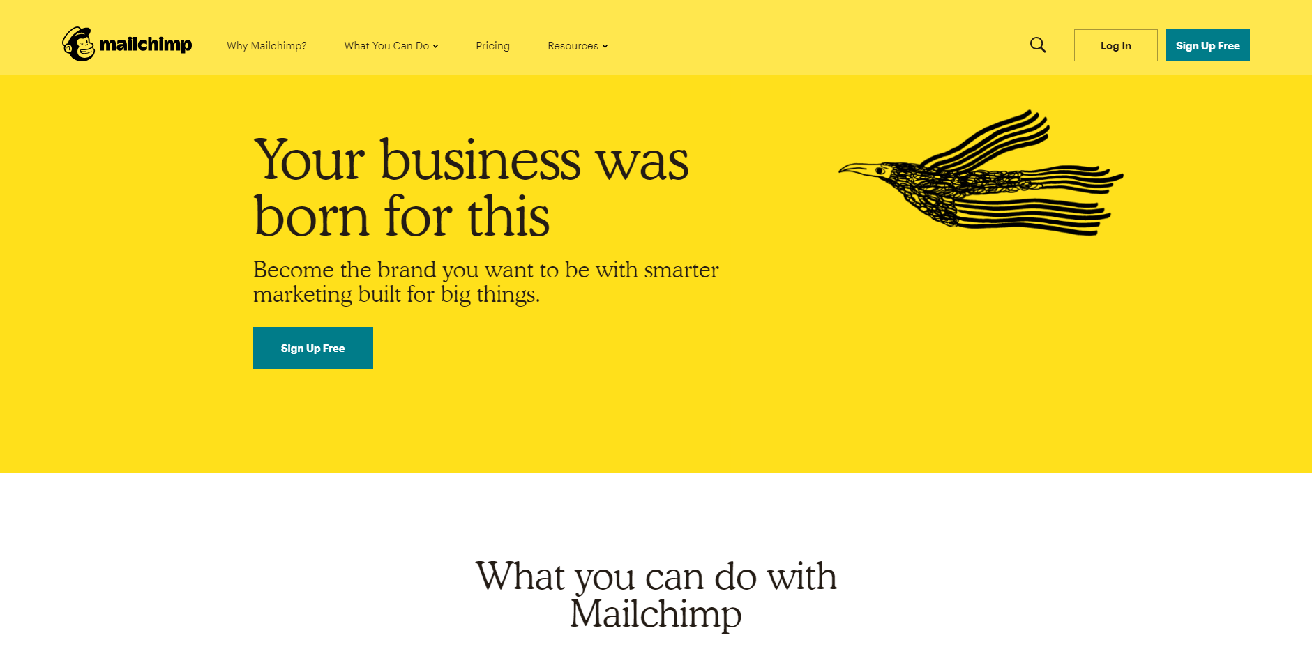 The homepage of Mailchimp