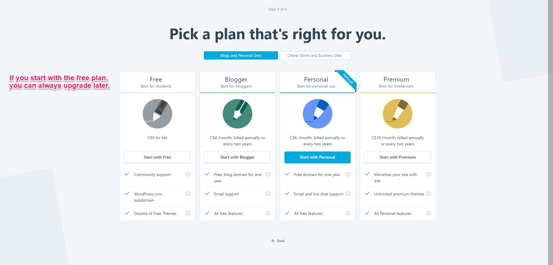 Choosing a WordPress plan