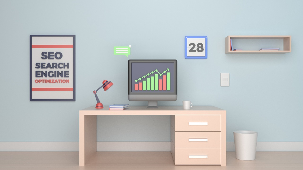 Desk with an SEO poster
