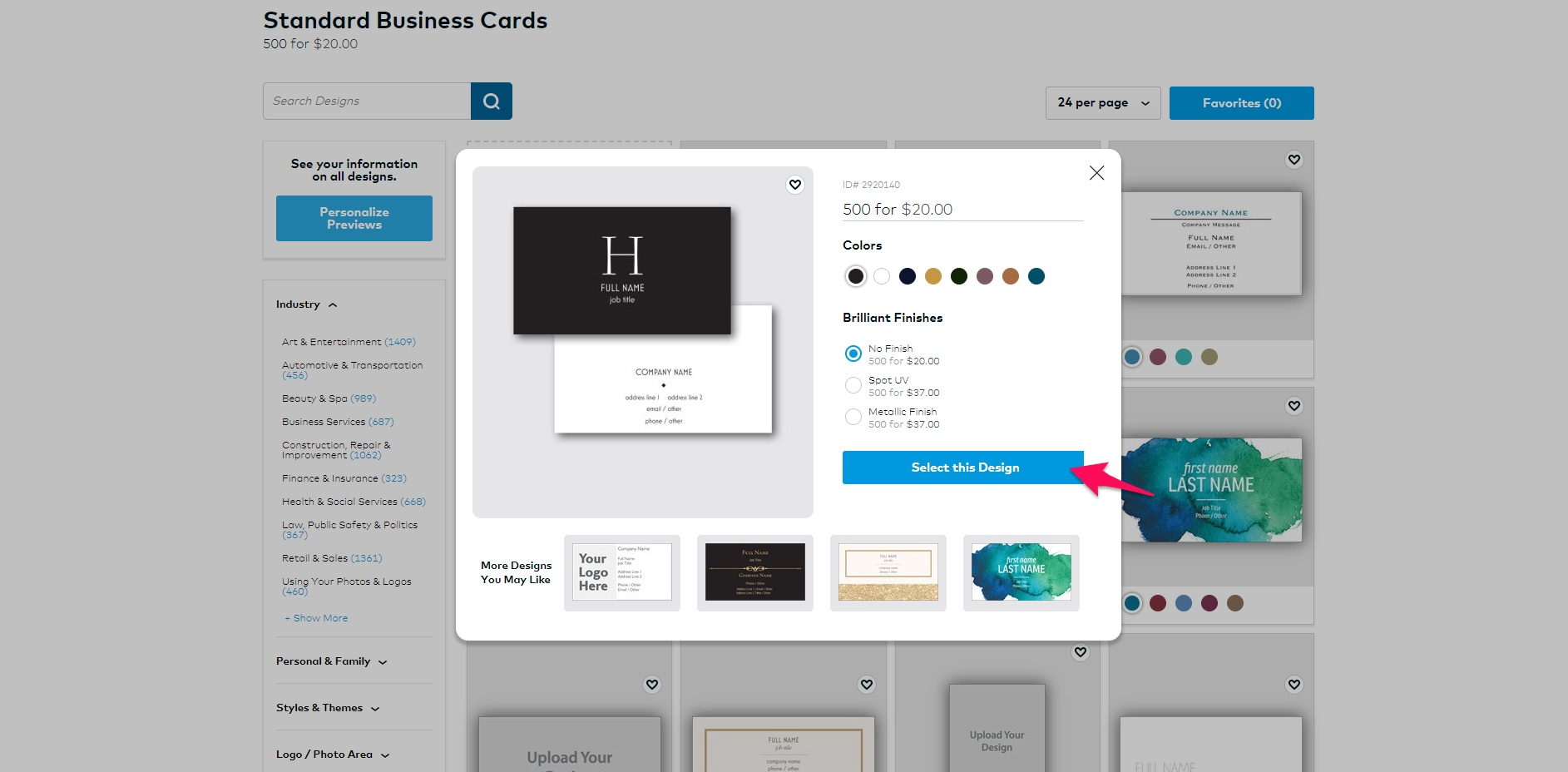 Choosing a business card template