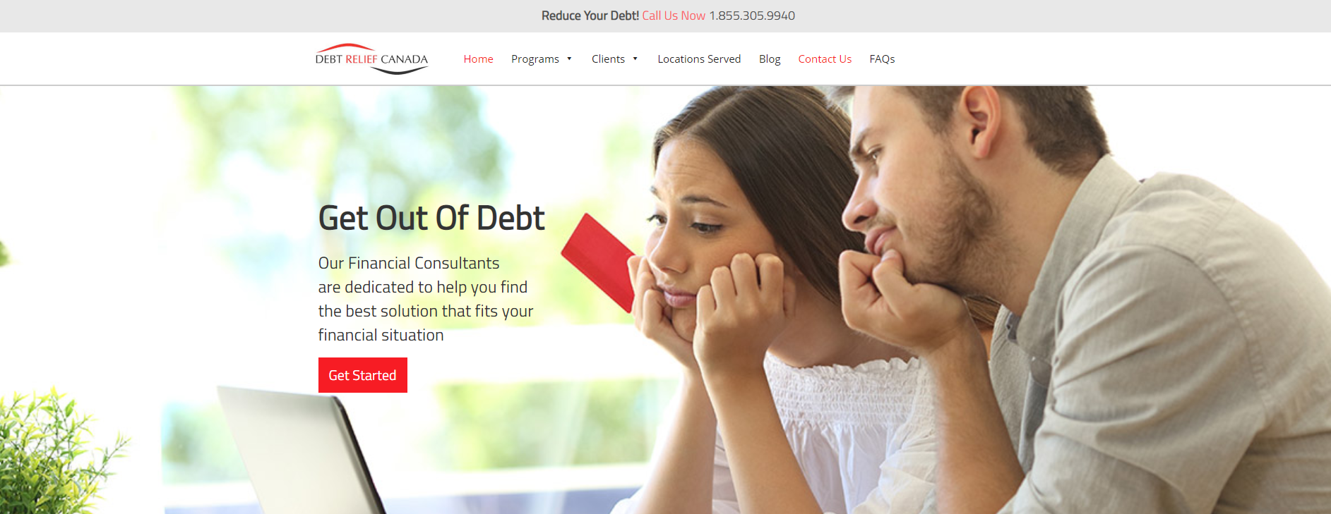 Debt relief website example