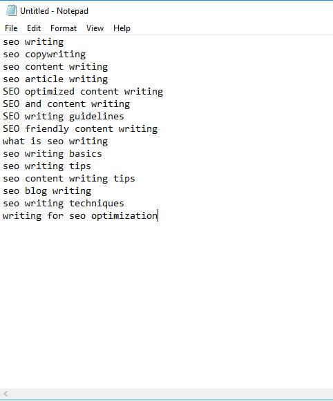 Notepad keywords