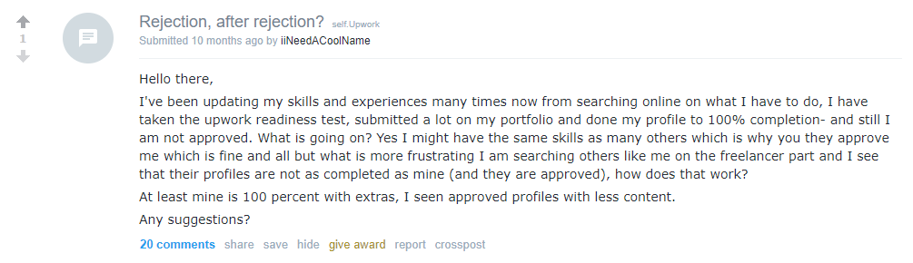 Reddit post about Upwork