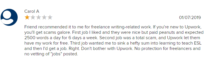 Upwork review from BBB
